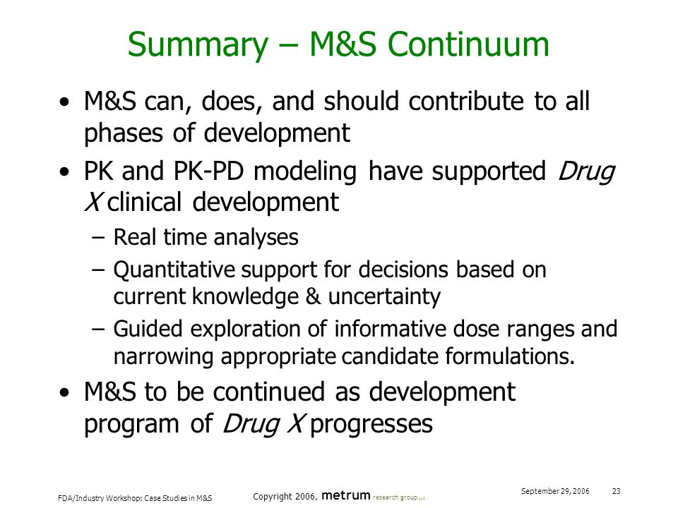 Summary – M&S Continuum
