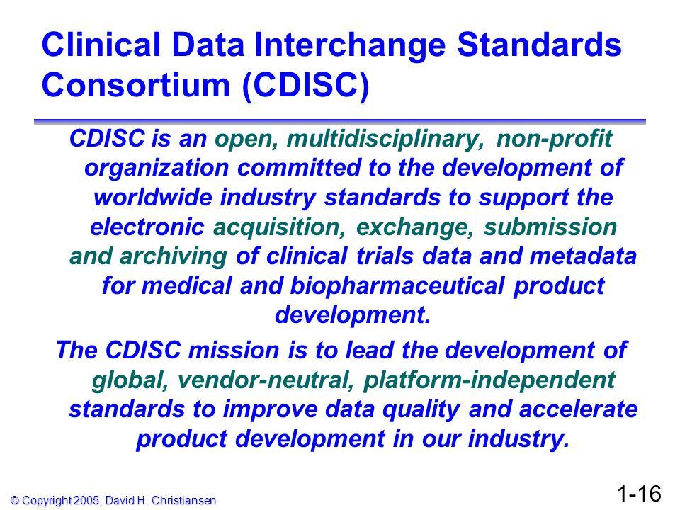 Clinical Data Interchange Standards Consortium (CDISC)