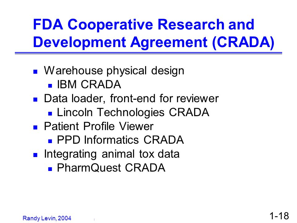 FDA Cooperative Research and Development Agreement (CRADA)