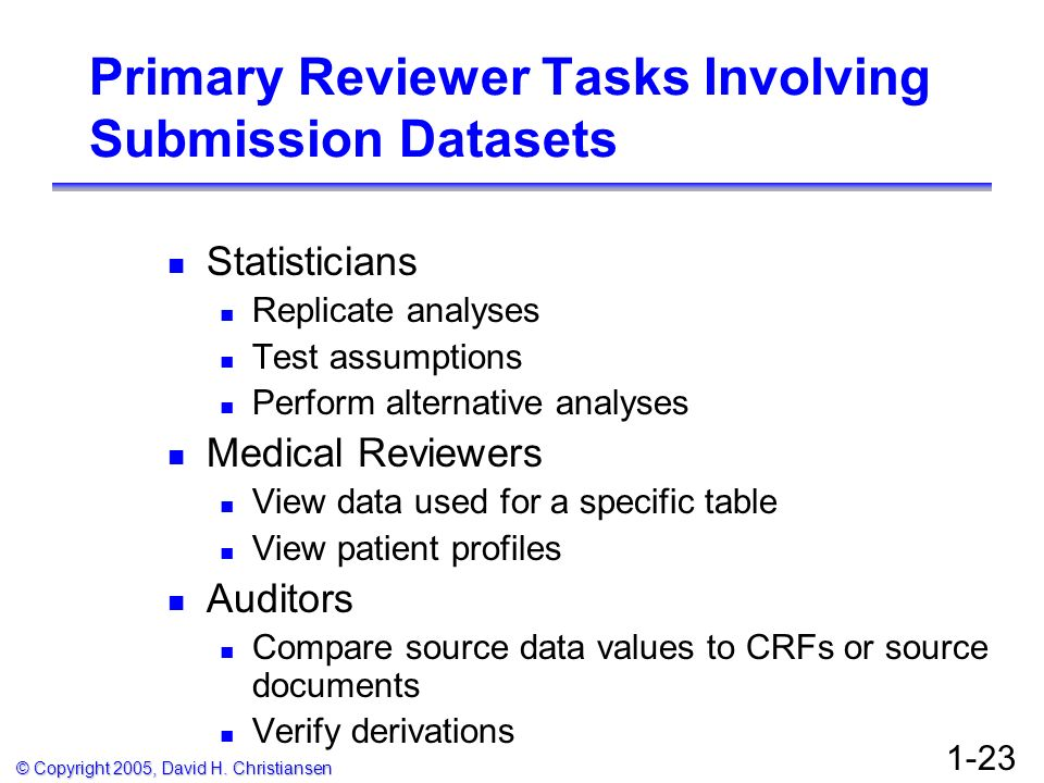 Primary Reviewer Tasks Involving Submission Datasets