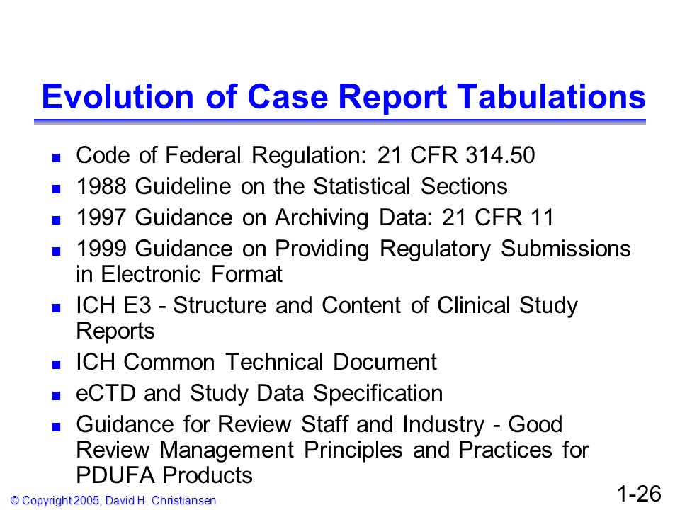 Evolution of Case Report Tabulations