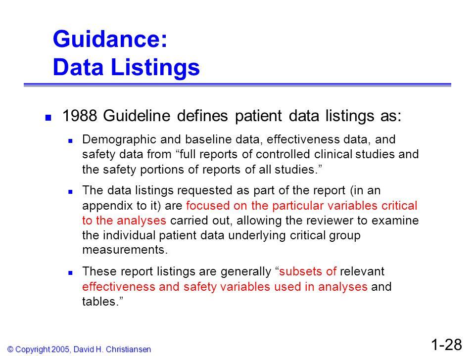 Guidance: Data Listings