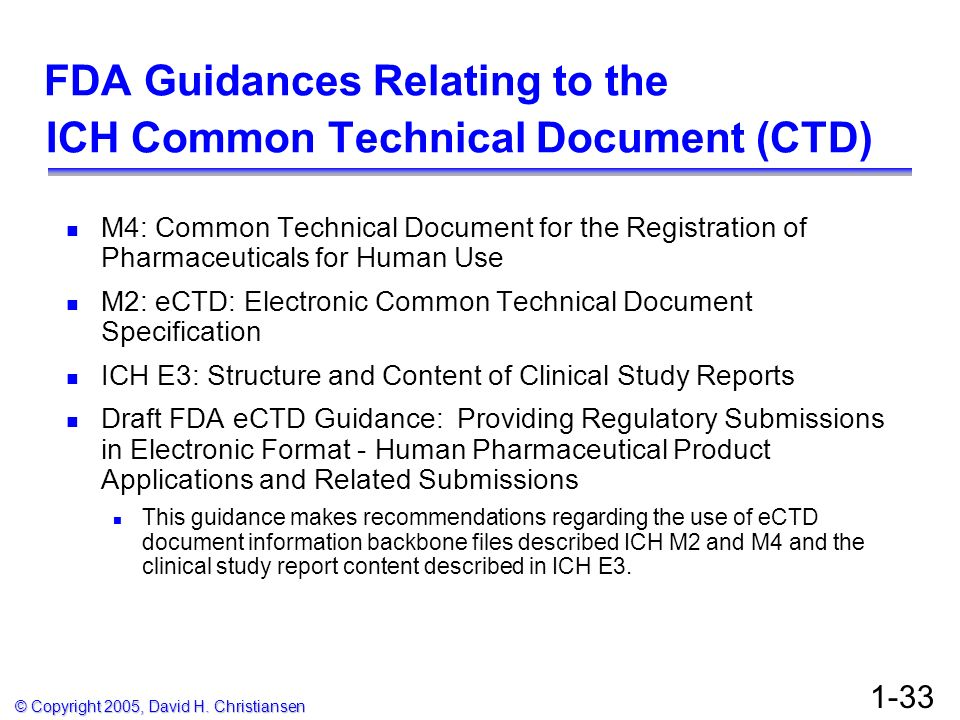 FDA Guidances Relating to the ICH Common Technical Document (CTD)