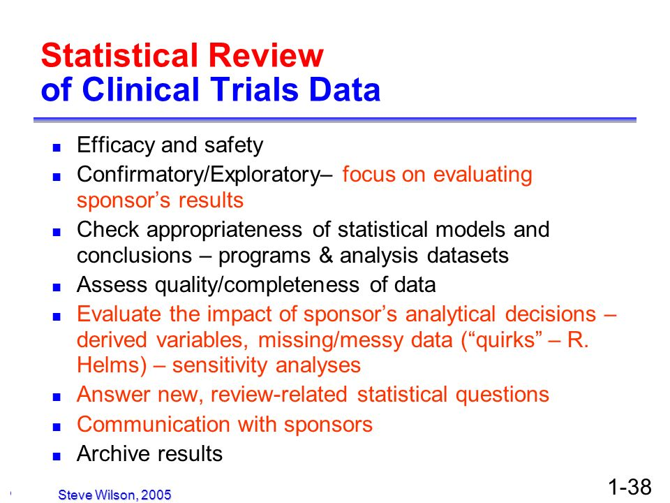 Statistical Review of Clinical Trials Data