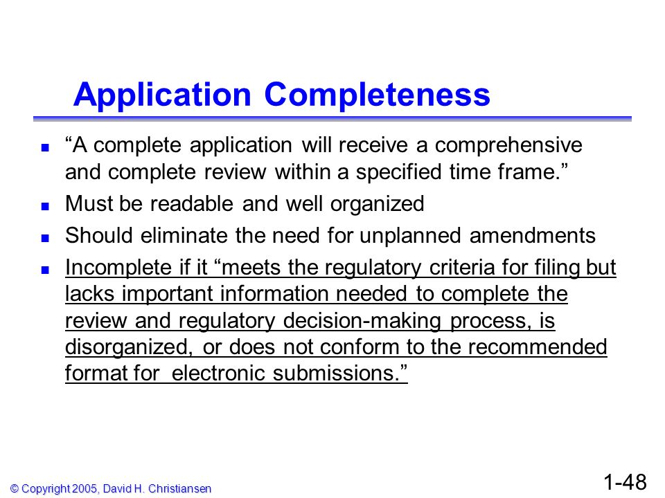 Application Completeness