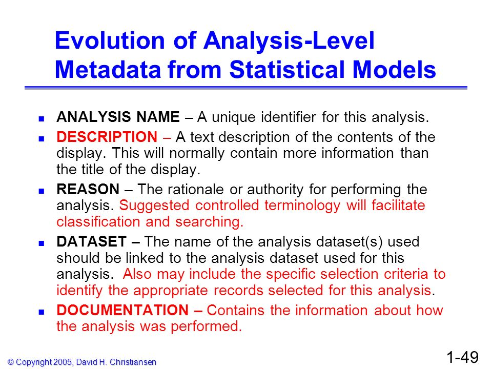 Evolution of Analysis-Level Metadata from Statistical Models