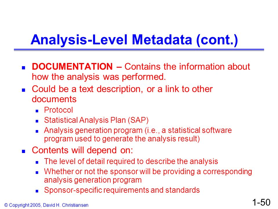 Analysis-Level Metadata (cont.)
