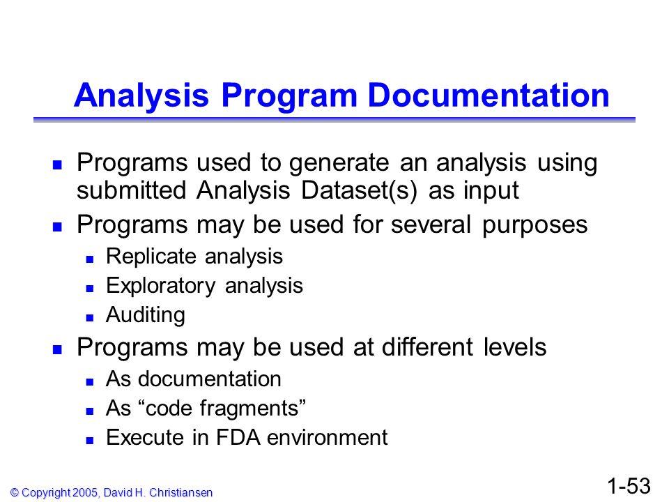 Analysis Program Documentation