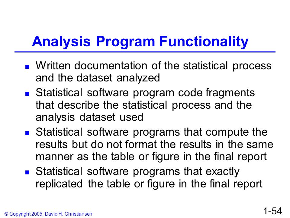 Analysis Program Functionality
