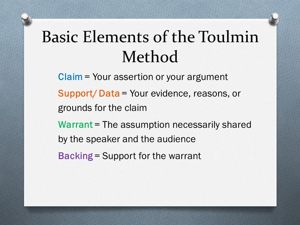 parts of a toulmin essay Toulmin's structure of arguments , as opposed to deaf to argument the basic parts of a simple structured argument are 25: a claim.