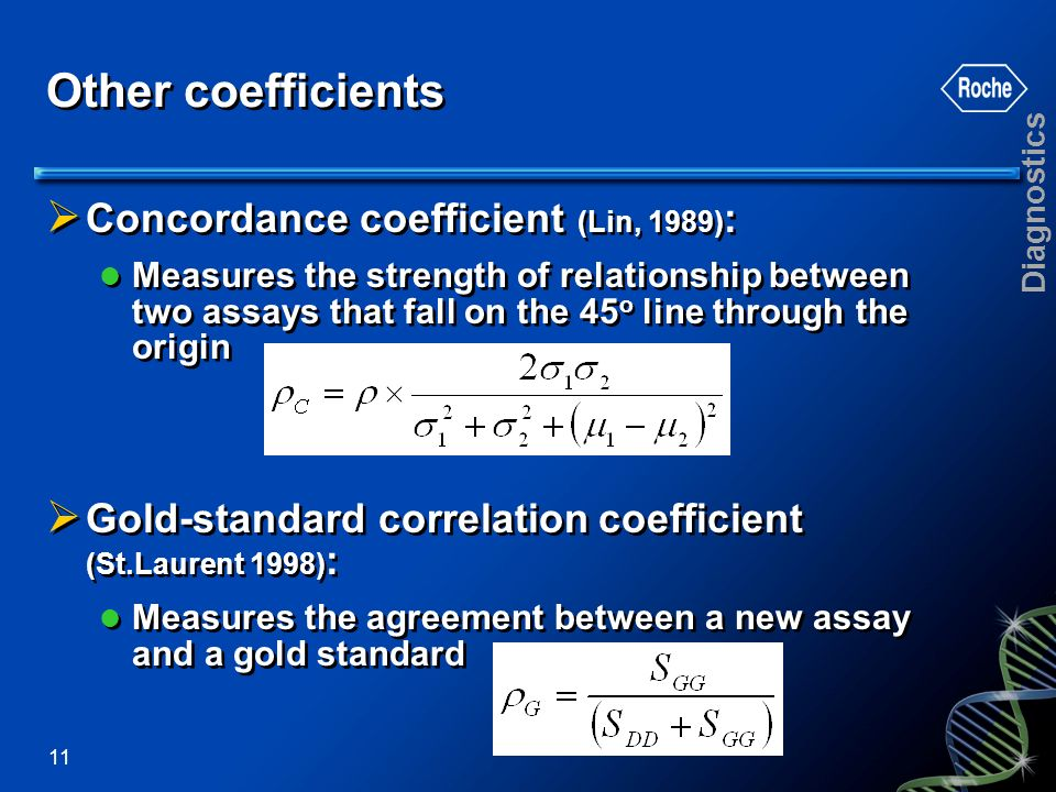 Other coefficients Concordance coefficient (Lin, 1989):