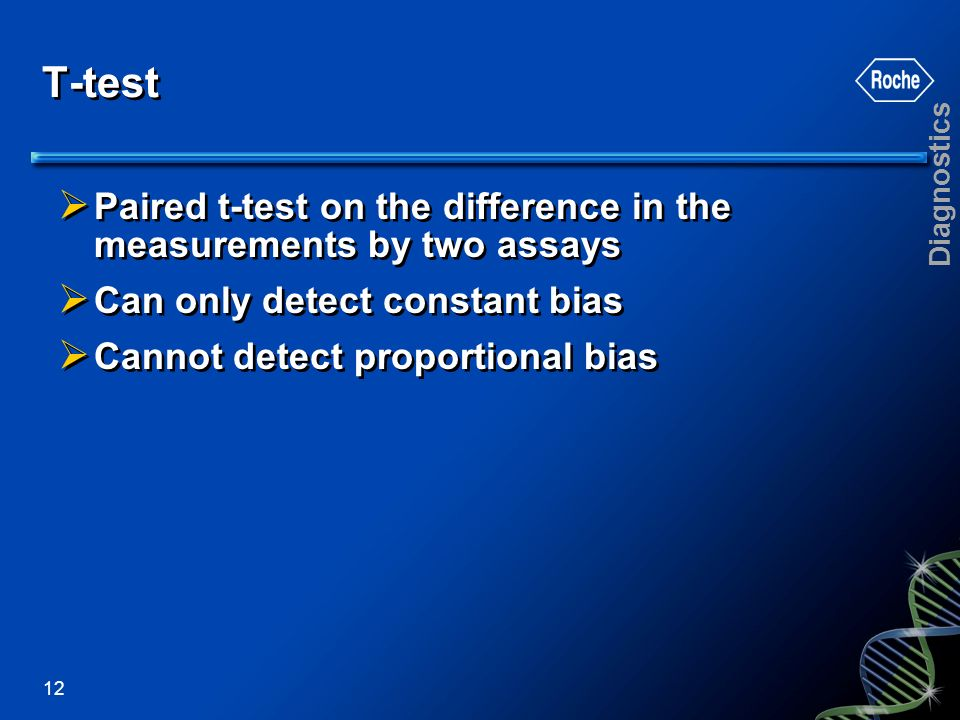 T-test Paired t-test on the difference in the measurements by two assays. Can only detect constant bias.