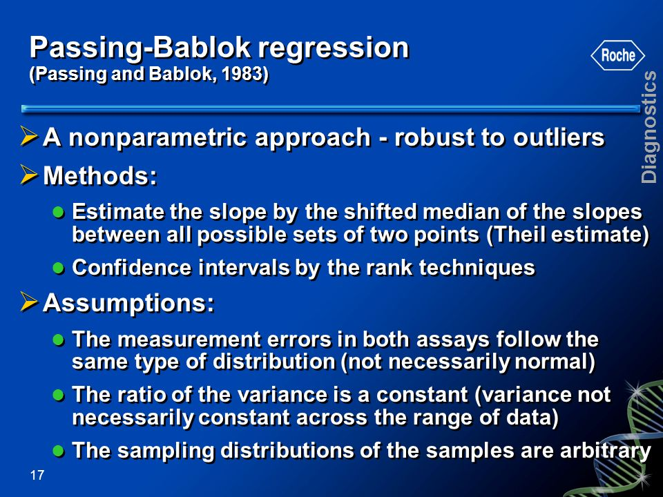Passing-Bablok regression (Passing and Bablok, 1983)