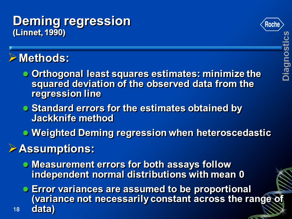 Deming regression (Linnet, 1990)