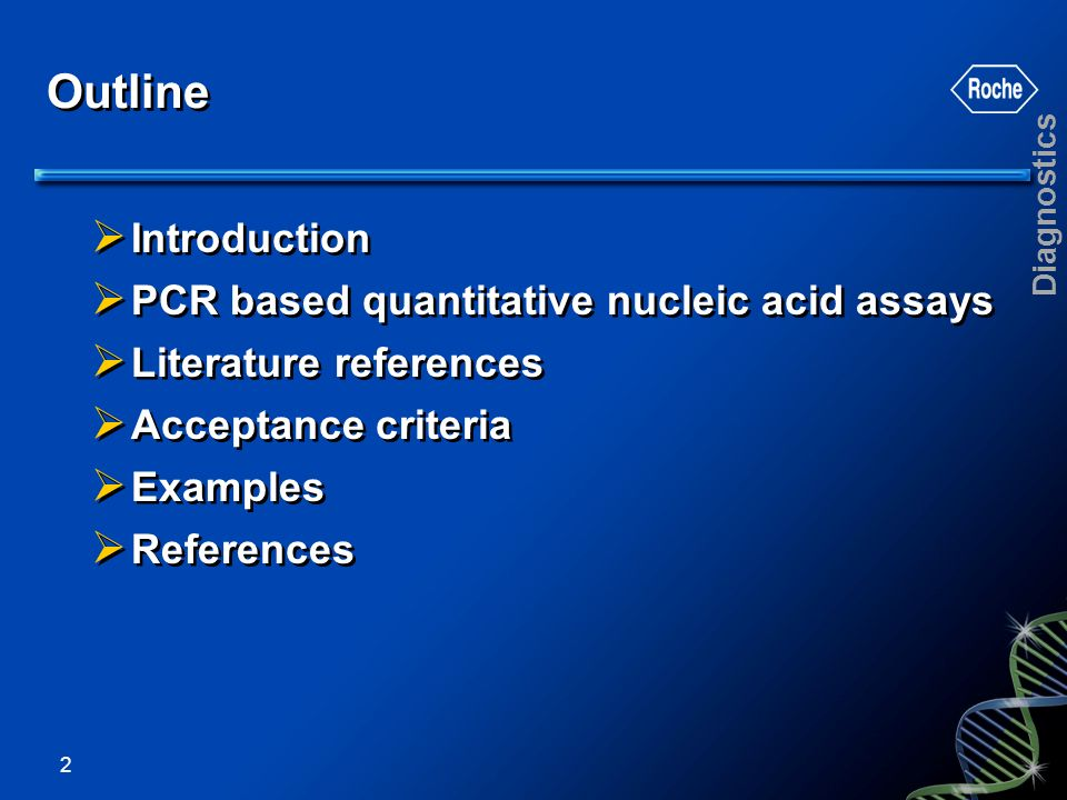 Outline Introduction PCR based quantitative nucleic acid assays