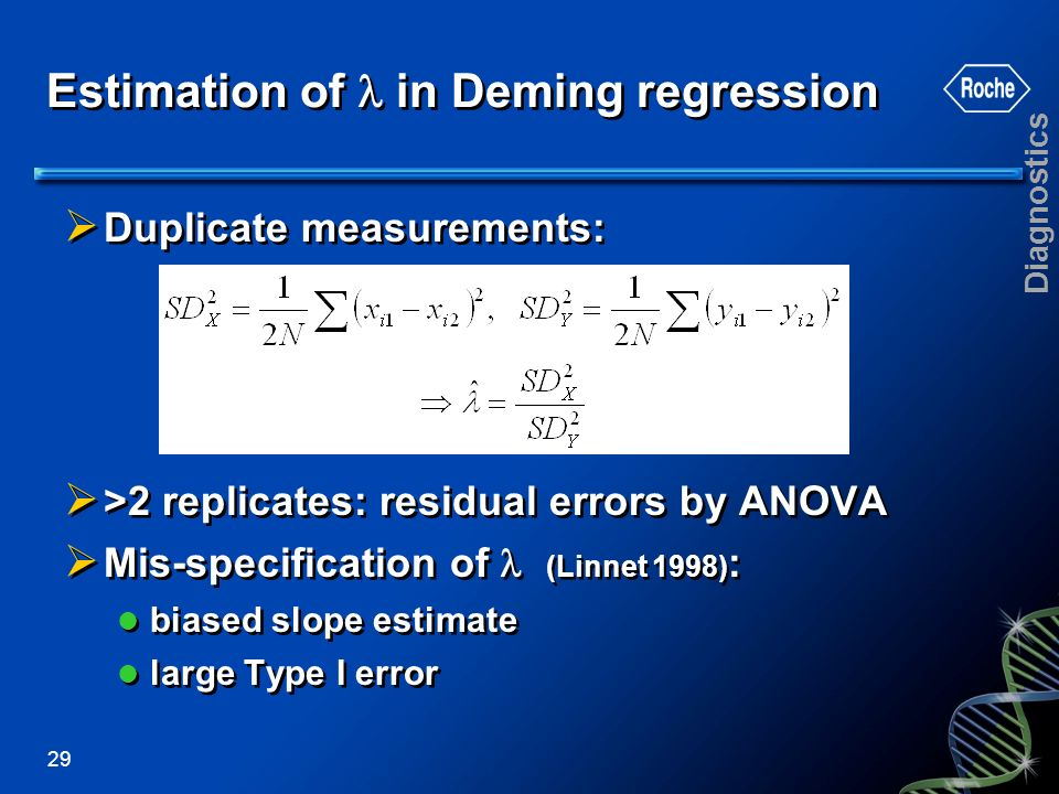 Estimation of  in Deming regression