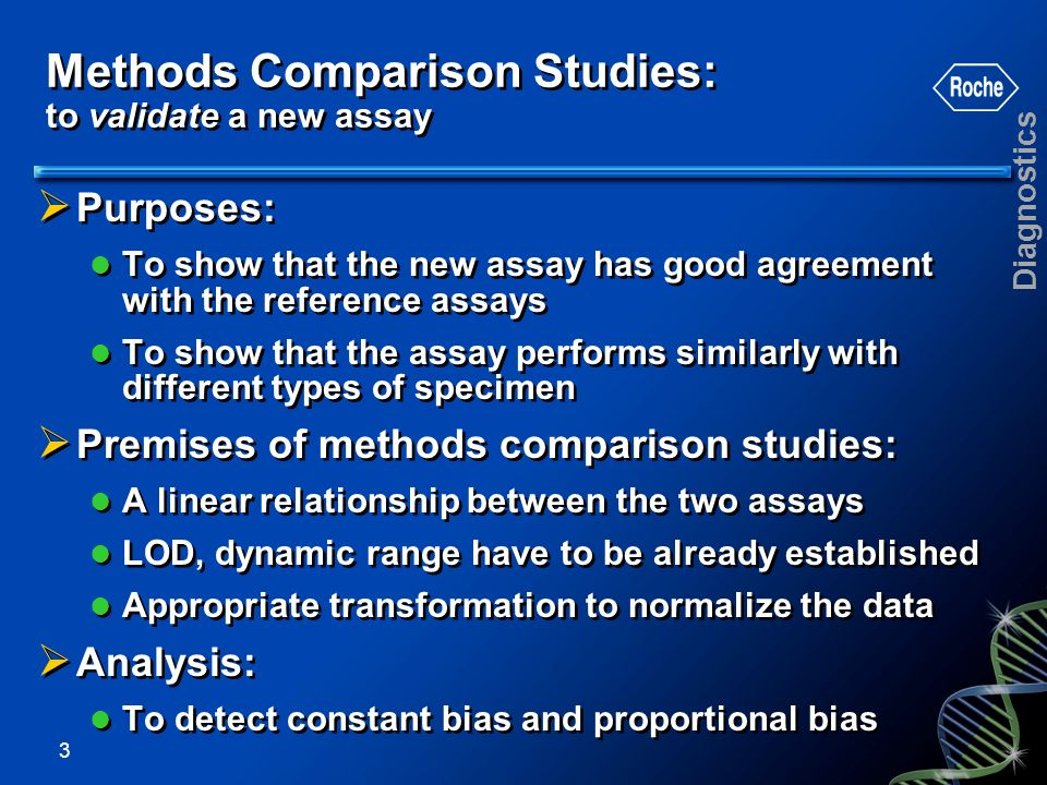 Methods Comparison Studies: to validate a new assay