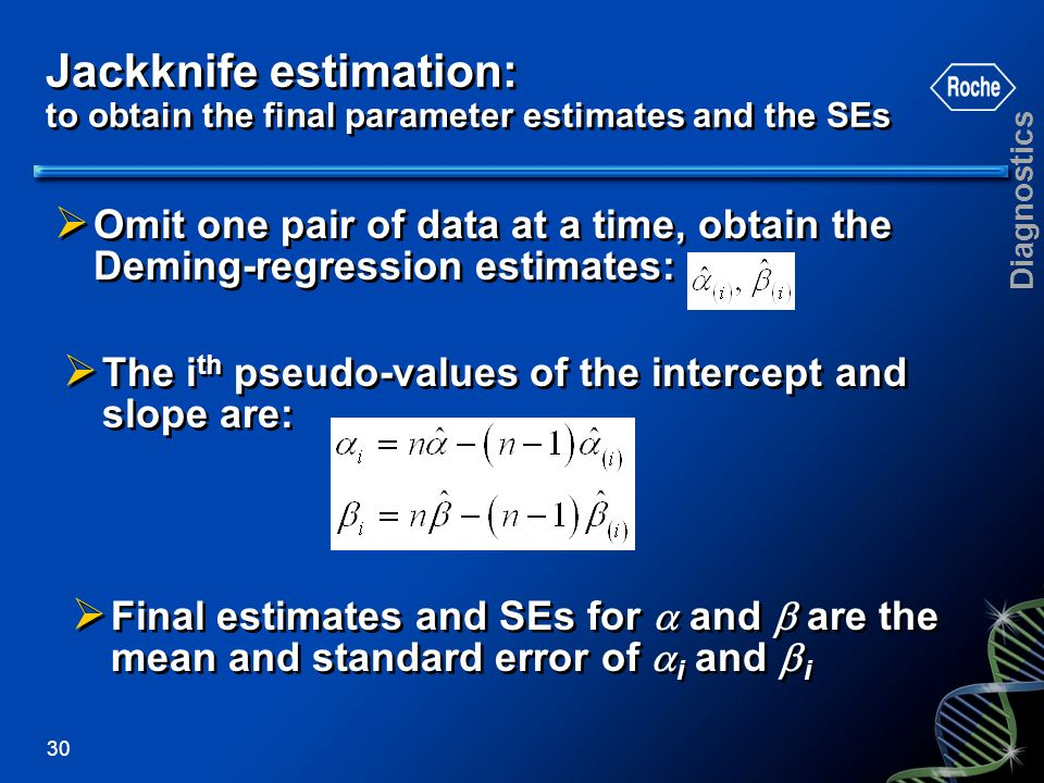Jackknife estimation: to obtain the final parameter estimates and the SEs