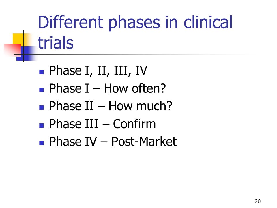 Different phases in clinical trials