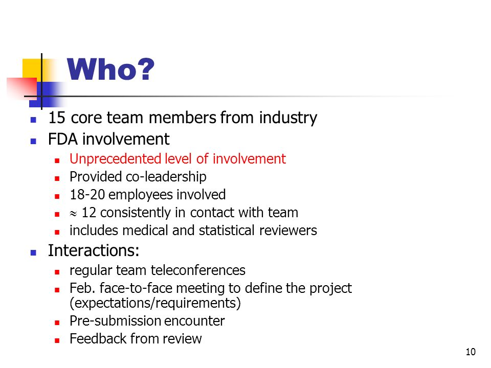 Who 15 core team members from industry FDA involvement Interactions: