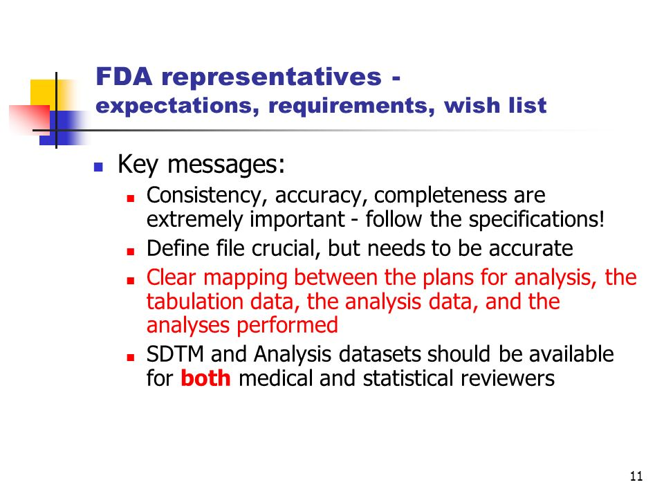 FDA representatives - expectations, requirements, wish list