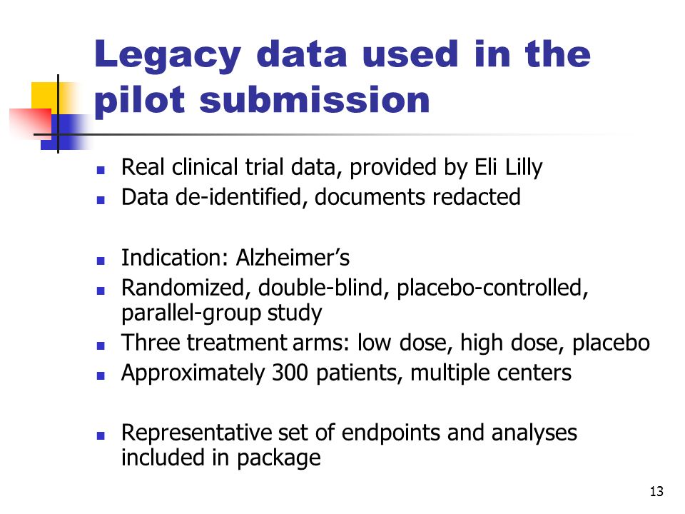 Legacy data used in the pilot submission