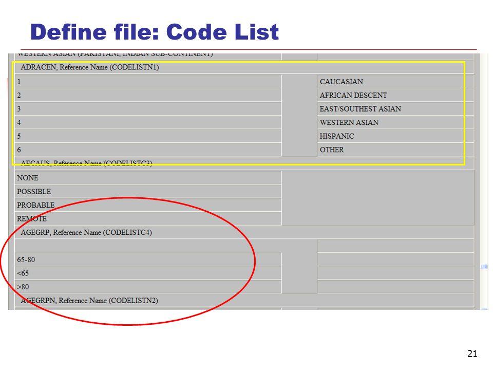 Define file: Code List