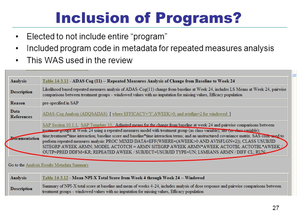 Inclusion of Programs Elected to not include entire program