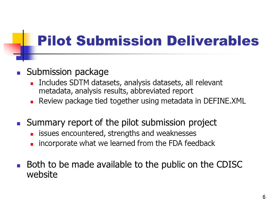 Pilot Submission Deliverables