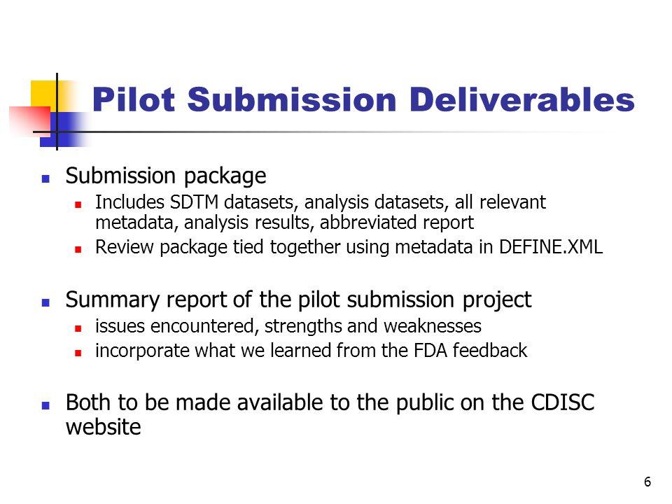 Pilot Submission Deliverables