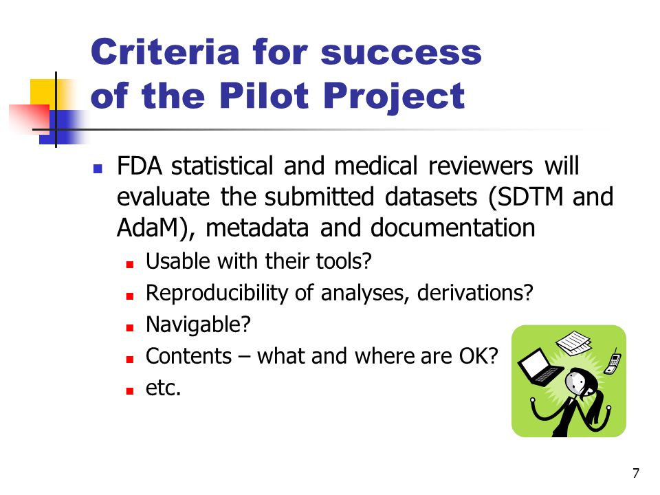 Criteria for success of the Pilot Project