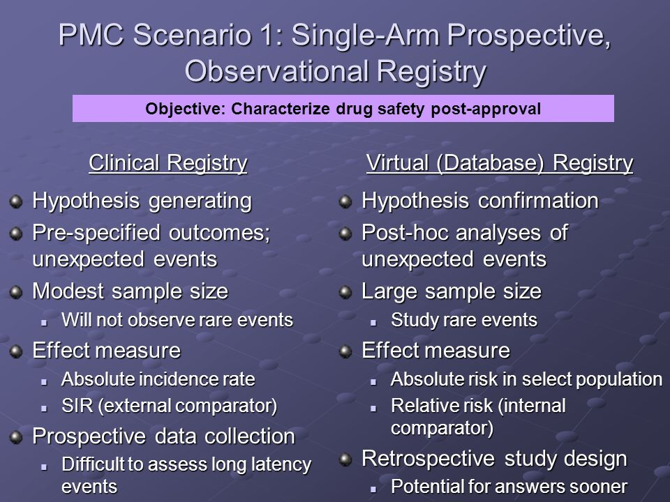 PMC Scenario 1: Single-Arm Prospective, Observational Registry