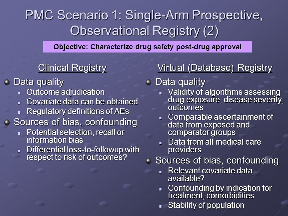 PMC Scenario 1: Single-Arm Prospective, Observational Registry (2)