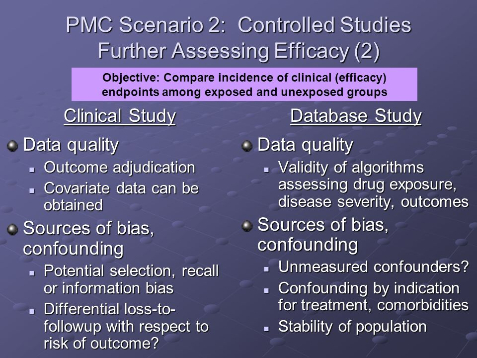 PMC Scenario 2: Controlled Studies Further Assessing Efficacy (2)