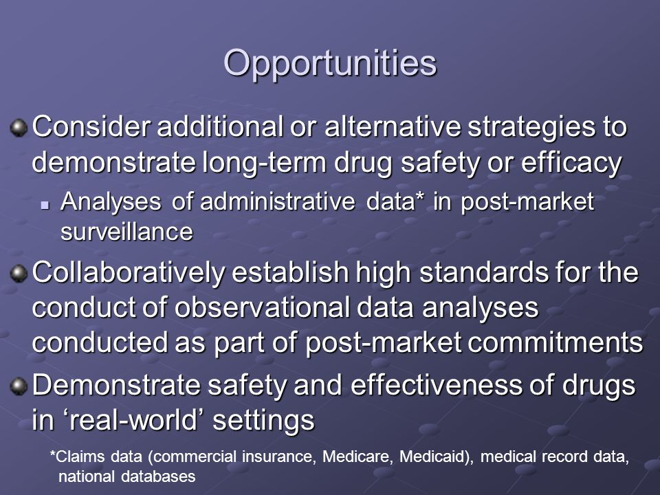 Opportunities Consider additional or alternative strategies to demonstrate long-term drug safety or efficacy.