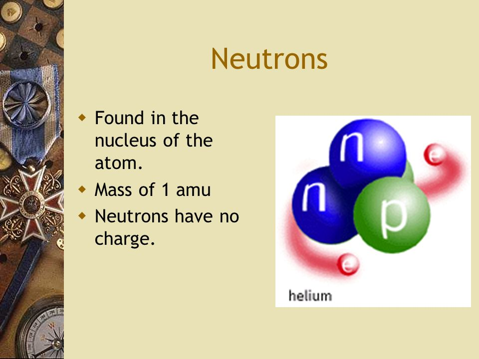Neutrons Found in the nucleus of the atom. Mass of 1 amu