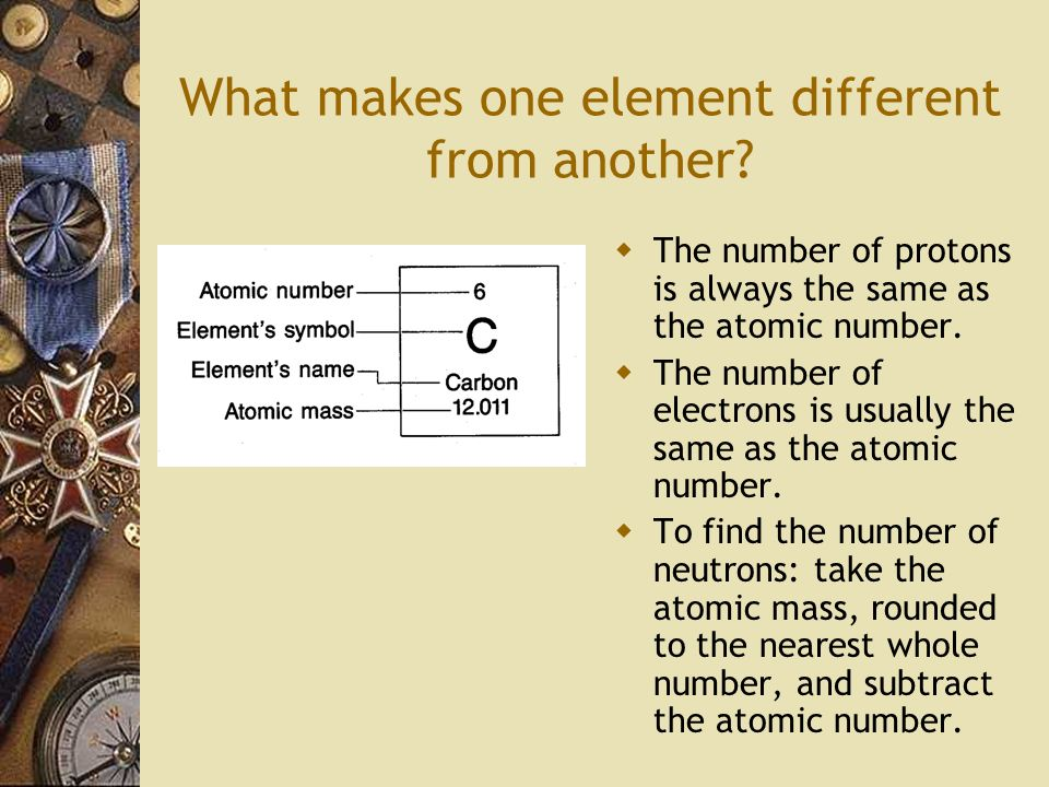 What makes one element different from another