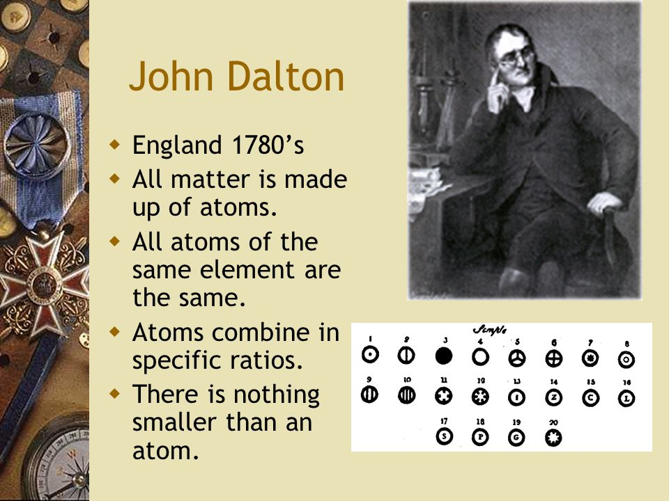 John Dalton England 1780's All matter is made up of atoms.
