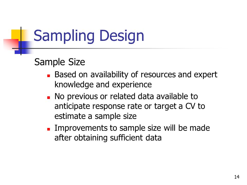 Sampling Design Sample Size