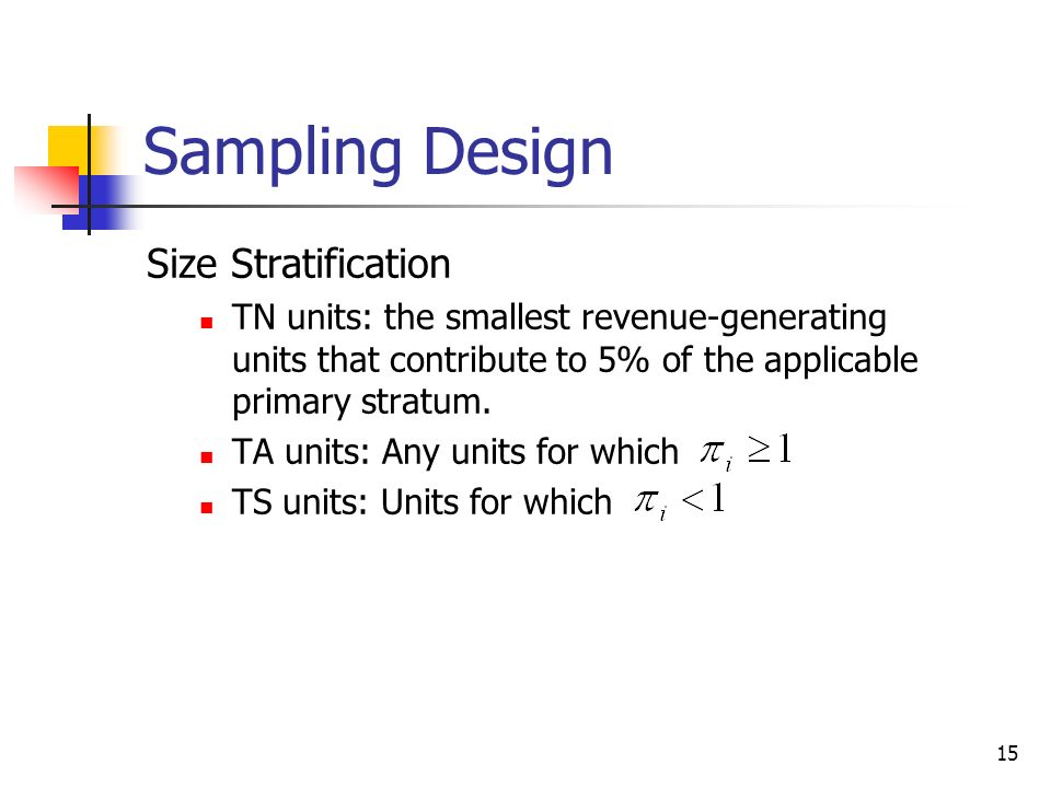 Sampling Design Size Stratification