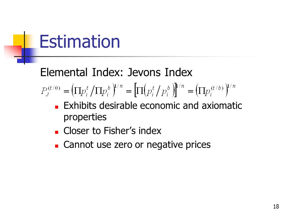 Estimation Elemental Index: Jevons Index