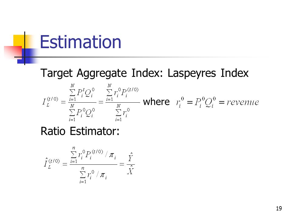 Estimation Target Aggregate Index: Laspeyres Index Ratio Estimator: