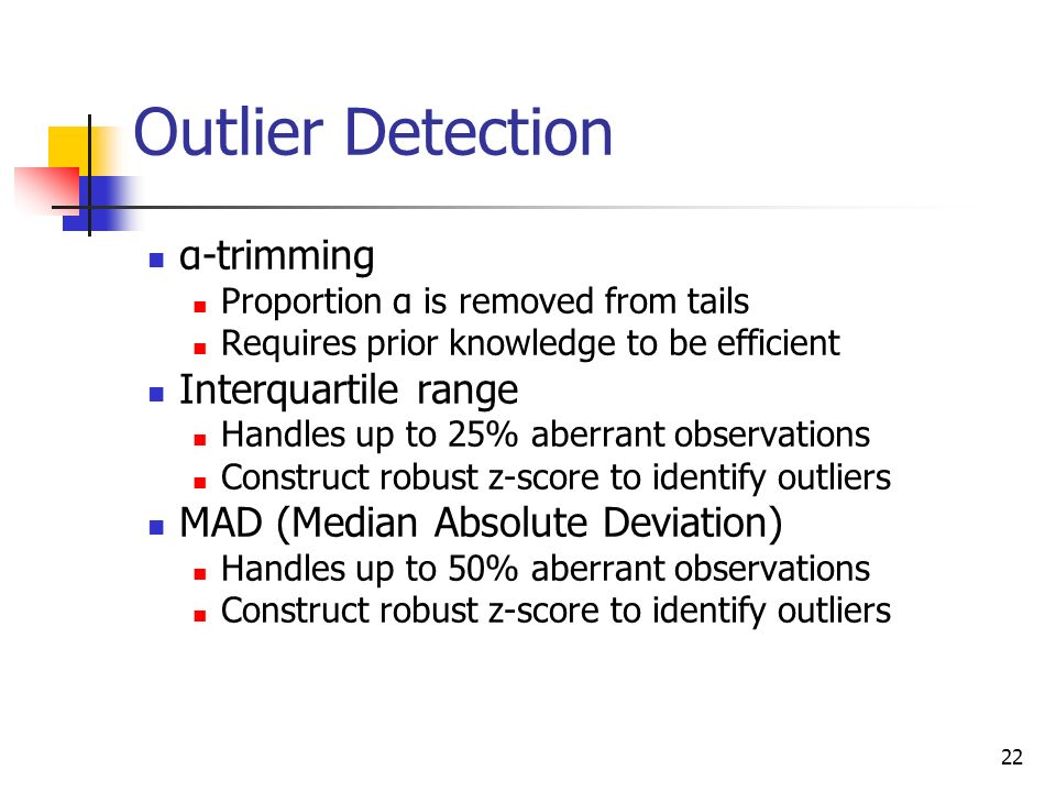 Outlier Detection α-trimming Interquartile range