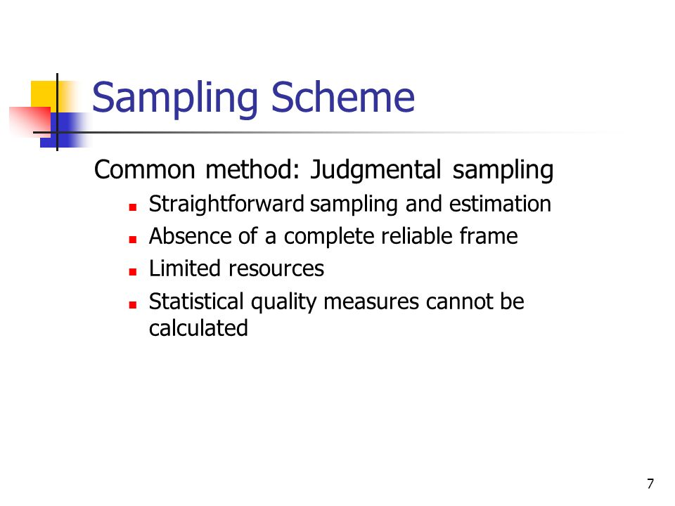 Sampling Scheme Common method: Judgmental sampling