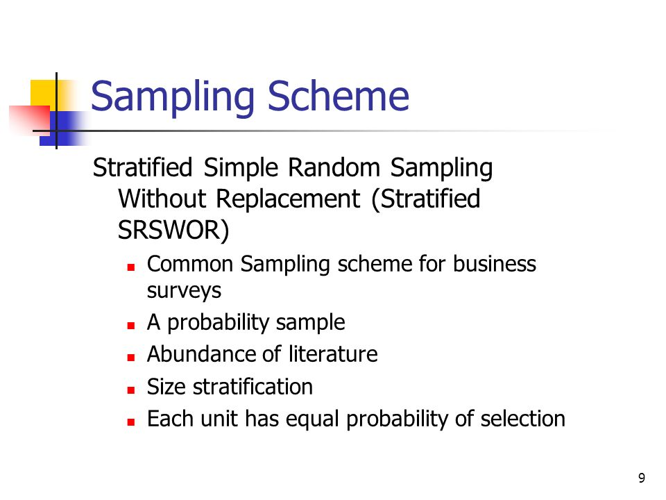 Sampling Scheme Stratified Simple Random Sampling Without Replacement (Stratified SRSWOR) Common Sampling scheme for business surveys.