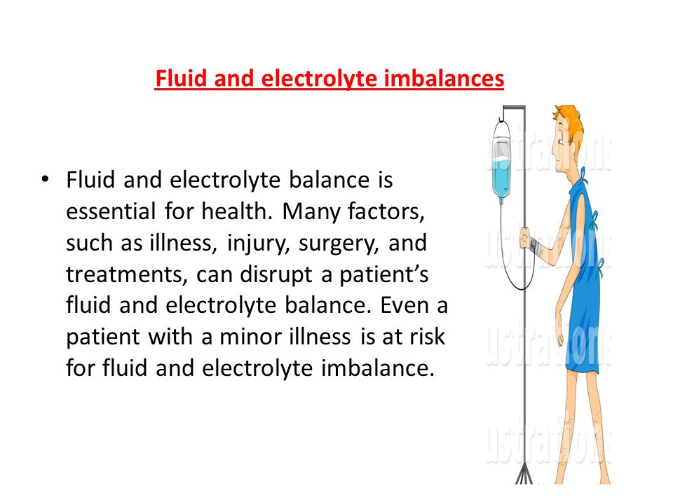 fluid imbalance in adult patients It's important to monitor intake of fluids in those with meningitis to avoid serious   different amounts of fluid, and imbalances or abnormalities can have serious   meningitis patients treated in the hospital usually receive fluids.