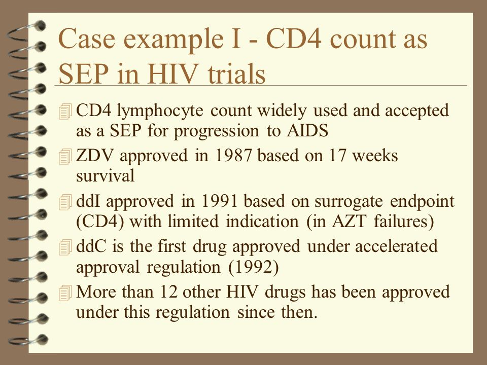 Case example I - CD4 count as SEP in HIV trials