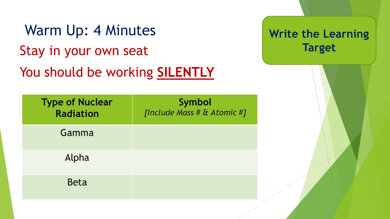 Week 13 chemistry nuclear chemistry ppt download write the learning target type of nuclear radiation biocorpaavc Gallery