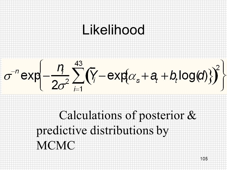 Likelihood Calculations of posterior & predictive distributions by MCMC
