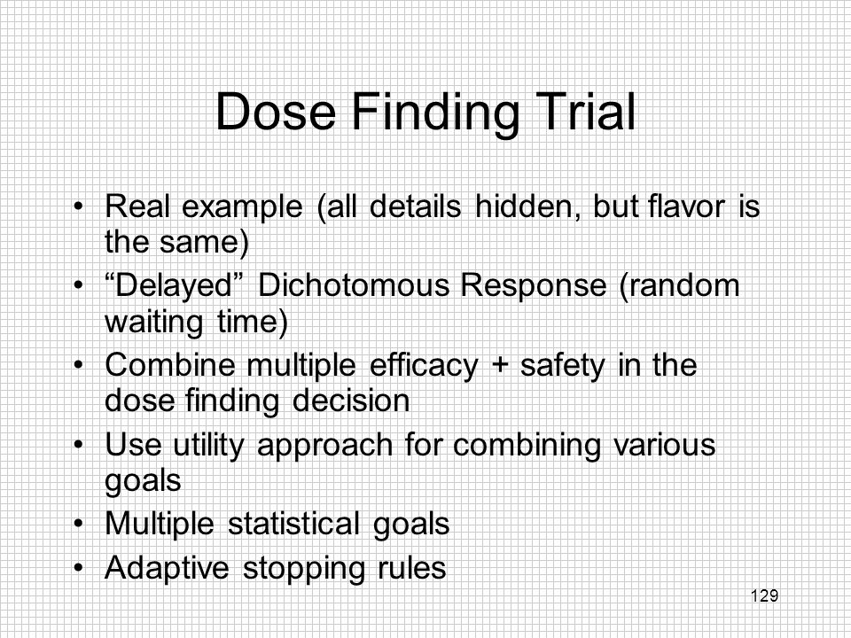 Dose Finding Trial Real example (all details hidden, but flavor is the same) Delayed Dichotomous Response (random waiting time)
